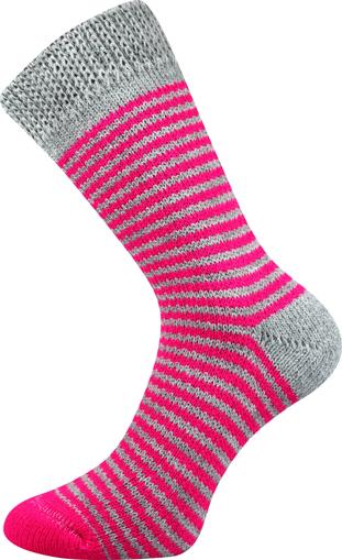 Obrázok z BOMA ponožky Spací ponožky - PROUŽEK proužek 04/šedá+růžová 1 pár